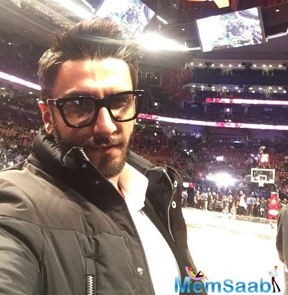 After celebrating Valentine's Day with Deepika on the sets of xXx ,Ranveer  also wanted to spend sometime watching a basketball game.