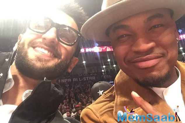 The Bajirao actor Ranveer posed with rappers Ne-Yo while enjoying NBA All  Star game 2016 in Toronto