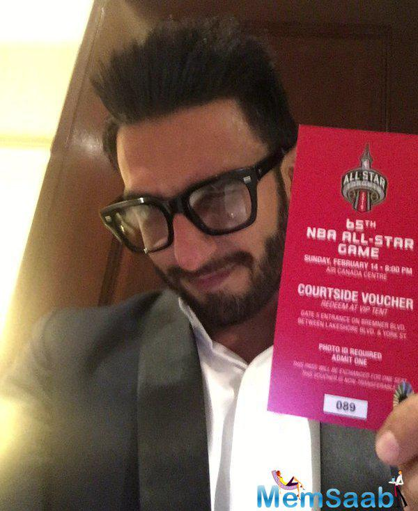 Ranveer Singh was seen showing off his pass for the NBA game. And tweets 'Alright homies! I'm in Toronto heading for the big game! Are you with me'.