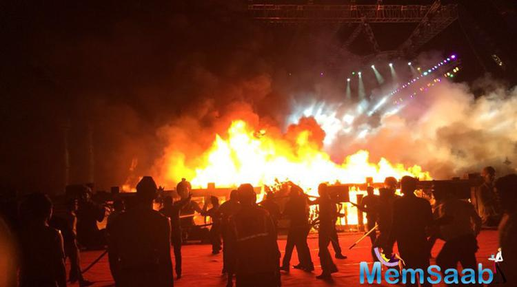 A massive fire gutted down the stage during the Make In Mumbai event, held in Mumbai, bringing the function to an unexpected closure
