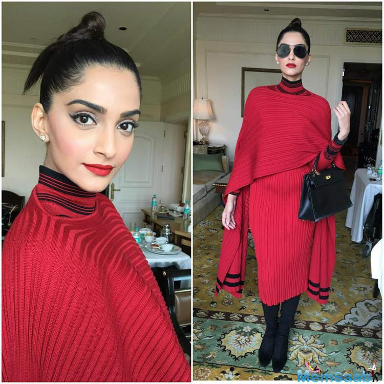 Raanjhanaa actress Sonam Kapoor, who is in Delhi for the promotions of her soon-to-release Neerja, was smart in a red Ferragamo dress.