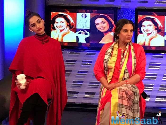 Sonam Kapoor was joined by actress Shaban Azmi. Shabana Azmi plays her onscreen mother in the film.