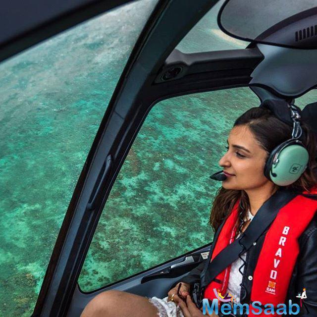 Parineeti Chopra amazing pic where she walks to helicopter rides