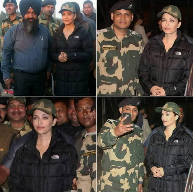 Aishwarya also met BSF Jawans at the Attari Border and clicked pictures with them. In the photos, Aishwarya is seen in a winter jacket and an army cap.