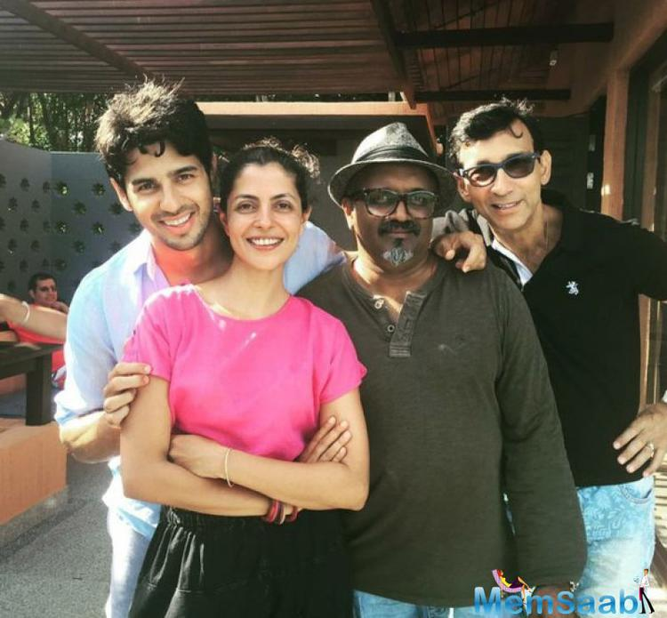 Sidharth also takes a pic with his crew members with all smiles pose, the movie will be released in September.