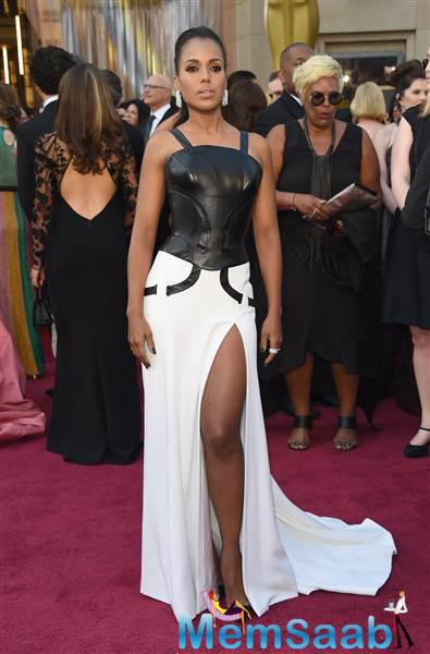 In a shield of black leather, Kerry Washington looks tough and gorgeous on the red carpet.