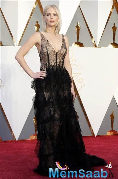 Wow looking luxe in lace, Jennifer Lawrence proves that all black isn't boring.
