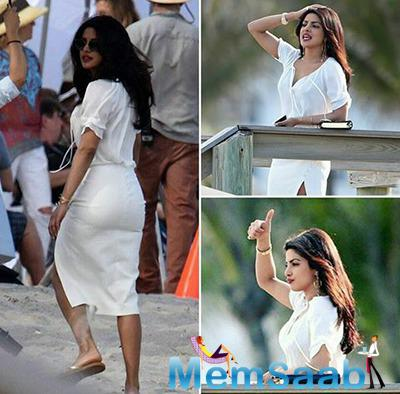 Priyanka Chopra, who signed for Baywatch as a villain, puts her best stylishly heeled foot forward as she shot scenes for the Baywatch movie on Tuesday.