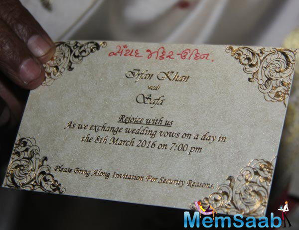 Get a look the invitation card of the reception which was held at Laxmi Vilas Palace.