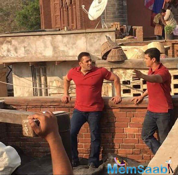 Salman Khan, who plays a Haryanvi wrestler in the film, was photographed as he was gearing up for a stunt