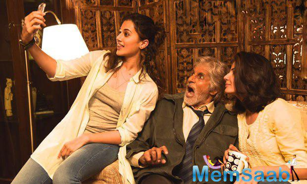 Megastar Amitabh Bachchan and Taapsee Pannu, who were signed for Shoojit's untitled project, clicked a selfie on the set.