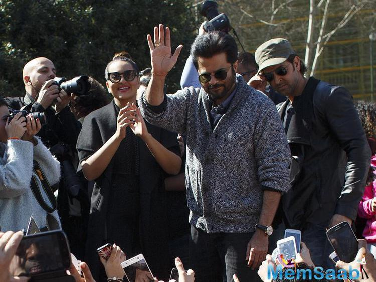 Bollywood fans are everywhere, Anil Kapoor waves to fans in Madrid, and the crowd has its cameras on the stars.