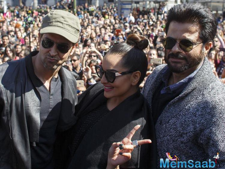 Hrithik, Sonakshi and Anil Kapoor reach in Madrid, Spain for the IIFA promotion.