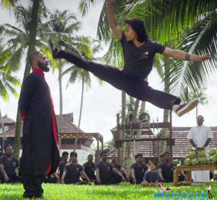 He known for his smooth dance moves and awe-inspiring action sequences, Tiger Shroff underwent extensive training in Kalaripayattu for the movie and his efforts have definitely paid off.