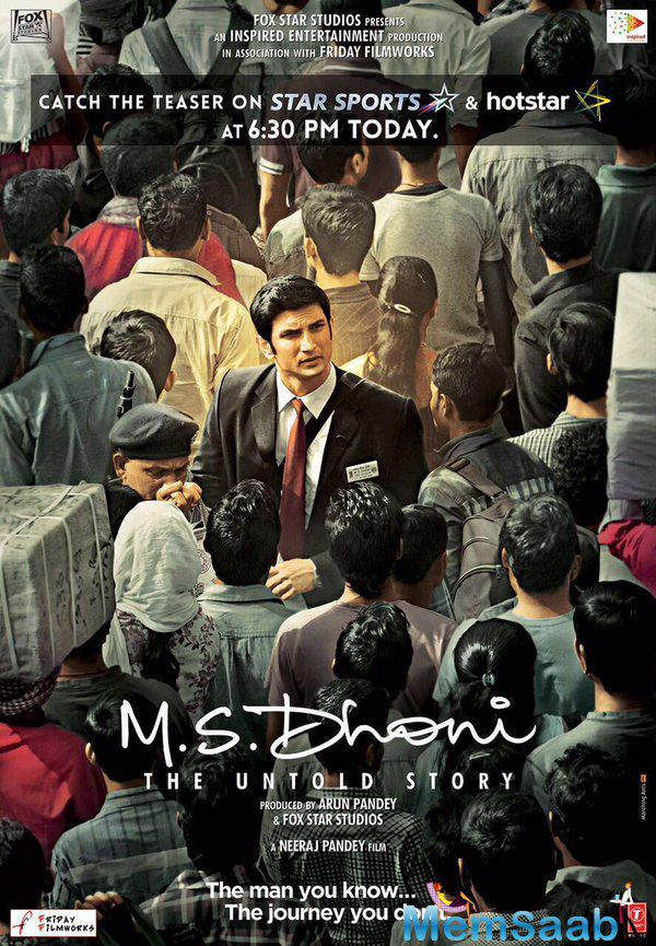 In the first teaser of MS Dhoni – The Untold Story, says 'Mahendra Singh Dhoni Ticket Collector South Eastern Railway reports for duty sir'.