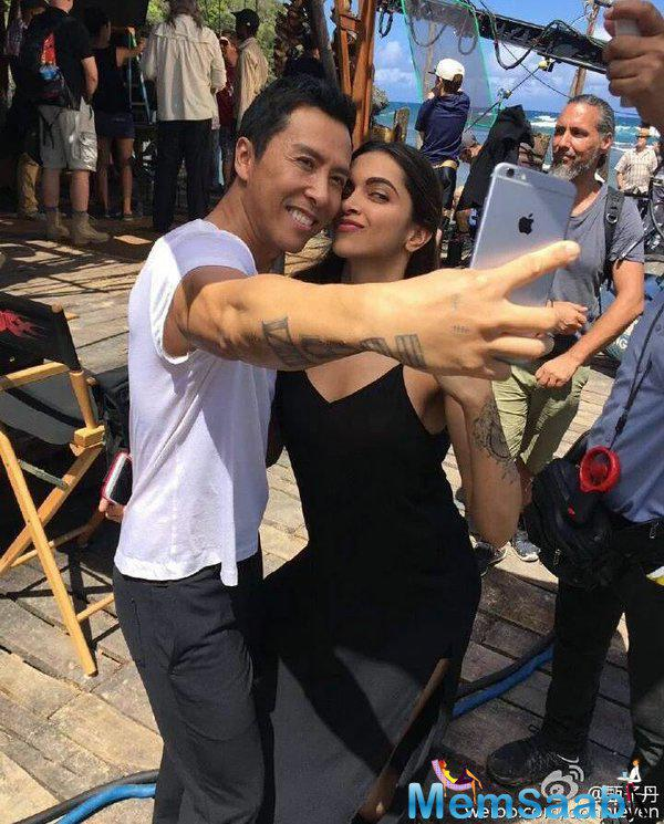 Deepika Padukone and her co-star  Donnie Yen clicked a selfie on the sets of xXx, who will portray the character of Xiang in the film.