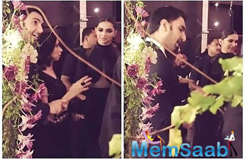 See this picture straight from the wedding where Ranveer can be seen with Deepika and her mom Ujjala Padukone.