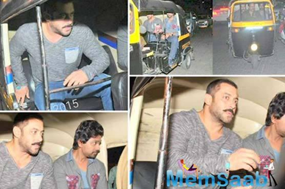 A couple of months back, Salman take an auto-rickshaw ride to his home after attending his younger brother Sohail Khan's 46th birthday party.