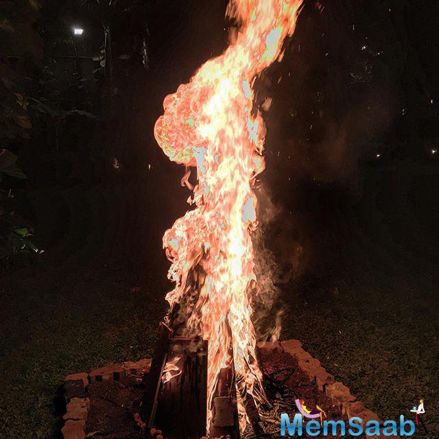 On the eve on Holi, Abhishek had also shared a glimpse of the Holika at Jalsa and tweeted, 'May this Holika burn away all your troubles and evils. Happy Holi'.