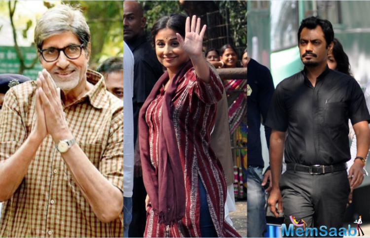 Bollywood stars Amitabh Bachchan, Nawazuddin Siddiqui and Vidya Balan were snapped shooting for 'Te3n' in Kolkata since a few months.