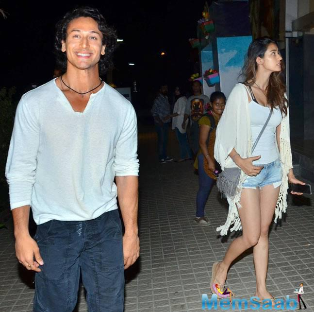 In the pictures, Tiger Shroff  and Disha are seen in their casual look. While Tiger was seen in white t-shirt and denim, Disha sported a white spaghetti and denim hot pants