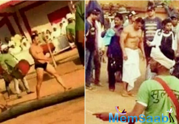 Bollywood superstar Salman Khan, who is currently shooting for the film Sultan, was seen flaunting his six-pack abs in loincloth