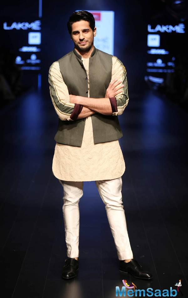 Sidharth Malhotra walked the ramp for designer Kunal Rawal at the Lakme Fashion Week in Mumbai on April 2.
