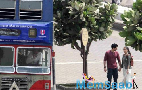 The former couple was snapped at Marine Drive yesterday, shooting for a sequence where they were waiting to catch a bus.