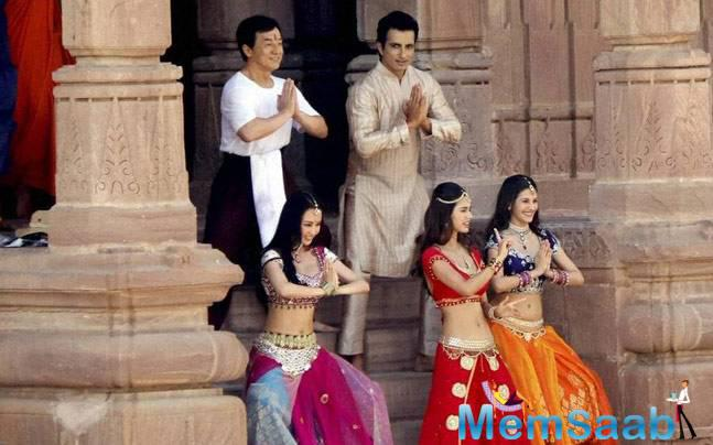 The cast of the upcoming film Kung Fu Yoga including Chinese actor Jackie Chan, Bollywood actors Amyra Dastur and Sonu Sood and choreographer Farah Khan filmed a dance sequence in Jodhpur