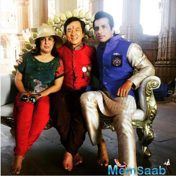 The Three Musketeers: Farah, Jackie Chan and Sonu Sood posed for a picture together, this image was posted by Farah on her Instagram