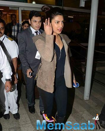 Priyanka came back home only for a day and the actress was received by her team, who embraced her with a warm hug.