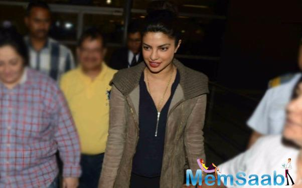 Priyanka Chopra, who is now becoming in Hollywood glimpse, spotted at Delhi airport last night.