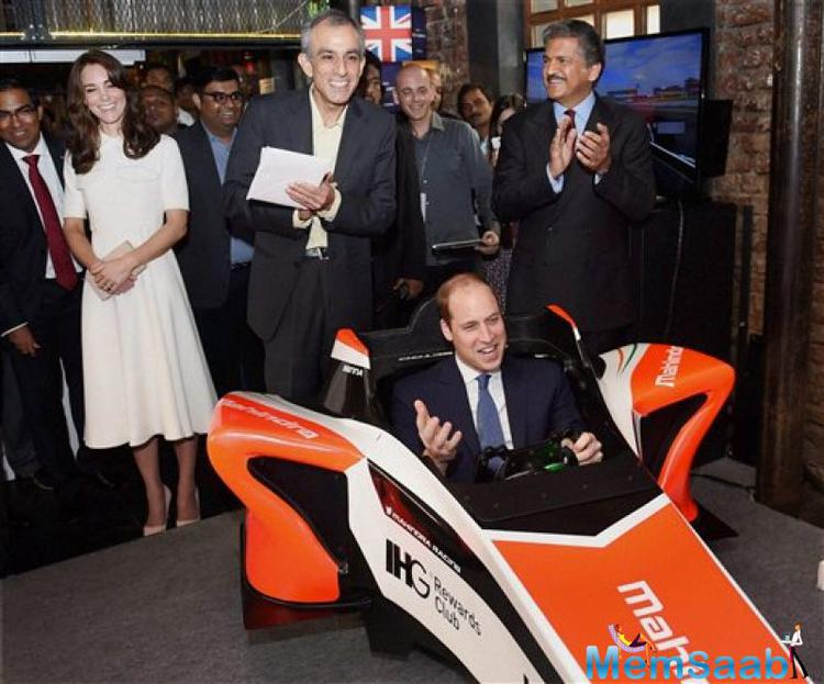 Prince William raced a formula car in a simulator created by the Mahindra Group