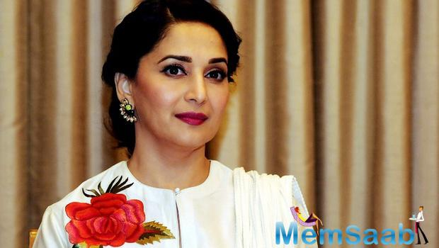 Madhuri Dixit, one among the many Bollywood celebrities invited for the gala dinner with British Royals Prince William and his wife Kate Middleton