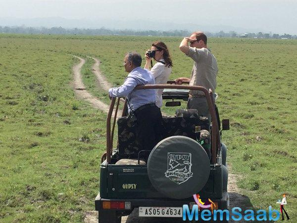The British royal also interacted with the forest staff who guard the park. The park, home to the rare one-horned rhinos, is a Unesco World Heritage site