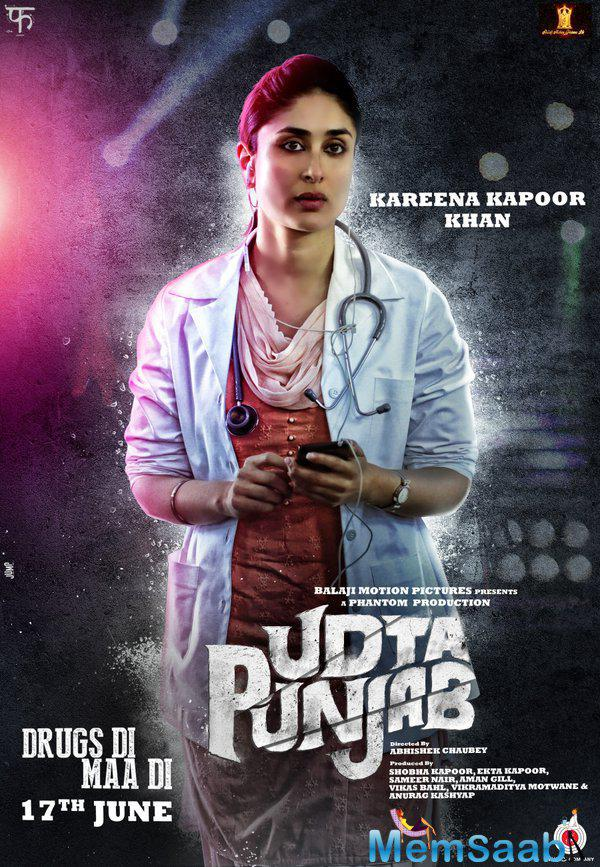 Kareena Kapoor Khan looks simple in the poster and its determined the role of her upcoming film Udta Punjab.