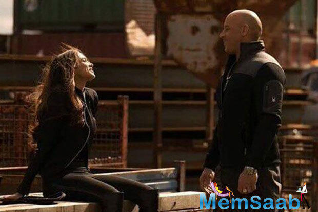 See here Deepika engrossed in a candid chat with her co-star Vin Diesel.