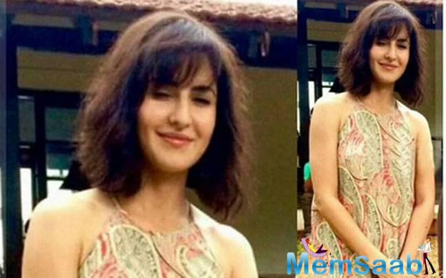 Well Fitoor actress Katrina  is seen sporting a short hairdo and spectacles, a look completely different from her previous films.