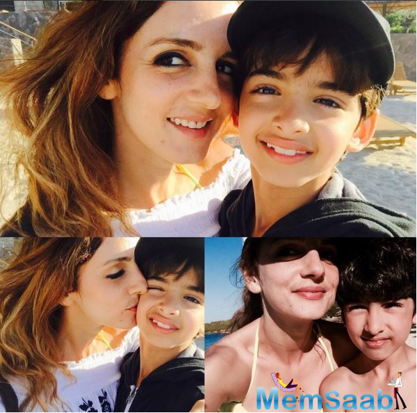 The Interior designer Sussane Khan took to Instagram to post a collage of snaps with her sons Hreehaan and Hridhaan and captioned it