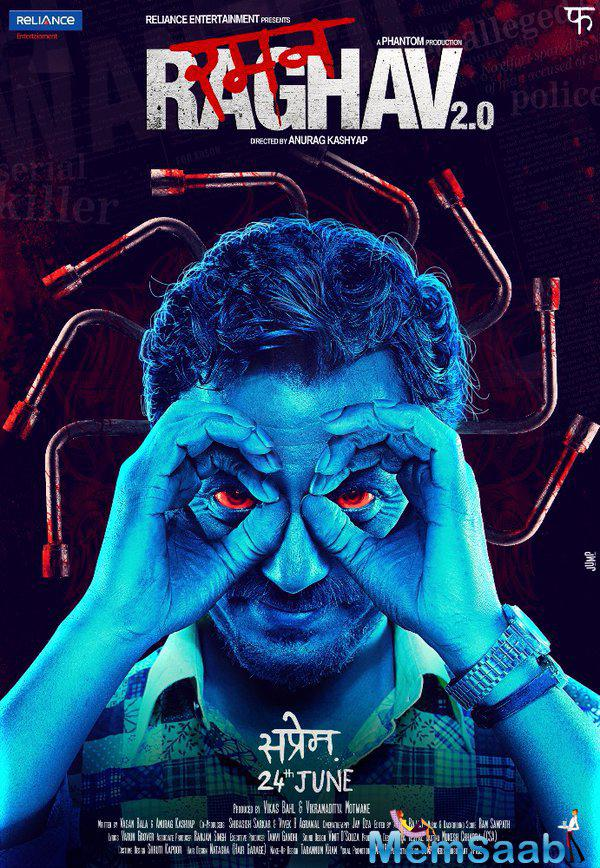 Nawazuddin look with bloodshot red eyes and bloodied lug wrenches sticking out of his head, he seems every bit the psychopathic killer he is said to be depicting.