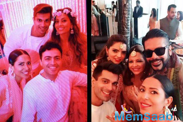 The bride and groom posed for a selfie with their friends Deanne Panday, Candice Pinto and others.