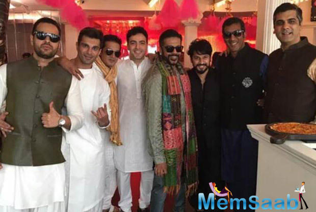 Karan posed for a photo with his friend Ayaz Khan, designer Rocky S and others