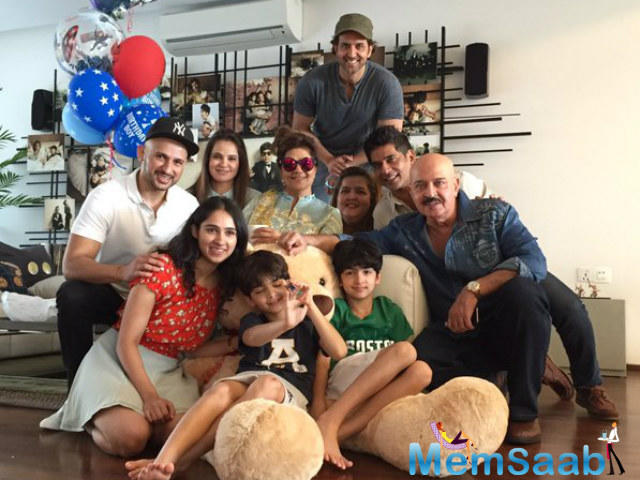 Hrithik shared a selfie with his sons and their allies during his son's birthday party