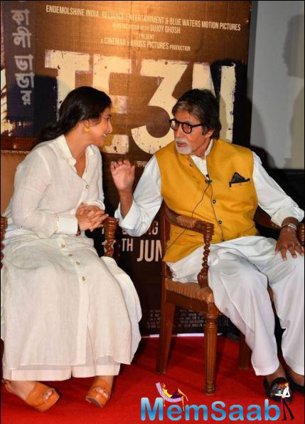 Amitabh Bachchan and Vidya Balan came together to launch the first trailer of their forthcoming crime thriller 'TE3N' at PVR Cinemas in suburban Mumbai.