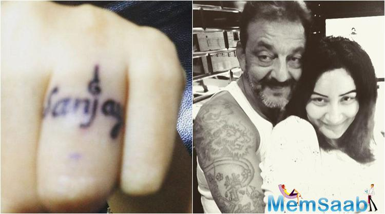 Maanyata Dutt gets the biggest rock on her finger, written Sanjay's name inked, shared the picture on Instagram.