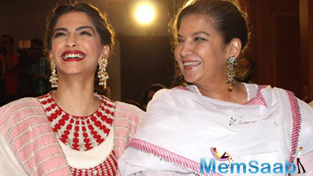Veteran actress Shabana Azmi played Sonam Kapoor's mother in 'Neerja'. And Sonam sends flowers and gifts to her on Mother's Day.