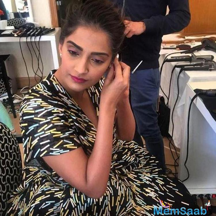 Sonam gets ready for the press meet at Cannes on Monday