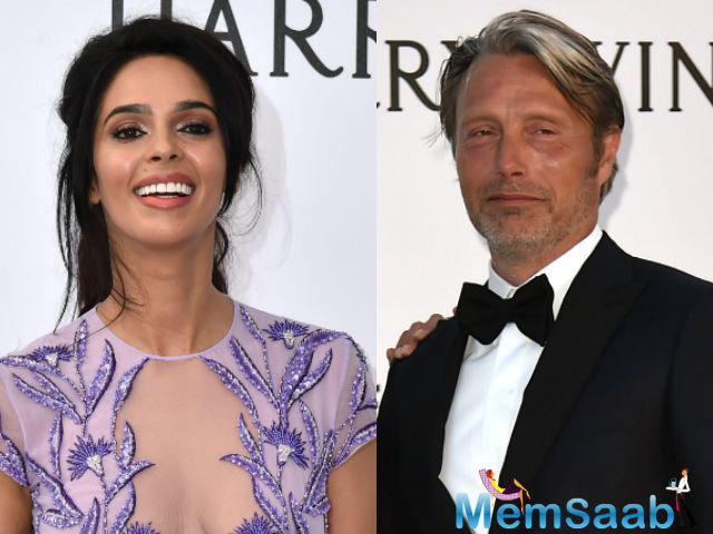 Mallika Sherawat met Mads Mikkelsen at the amfAR Gala on May 19