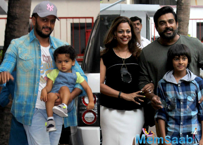 Riteish and Genelia Deshmukh's two-yr-old son Riaan and R Madhavan and his wife Sarita Birje's 11-yr-old son Vedant were also at the birthday party