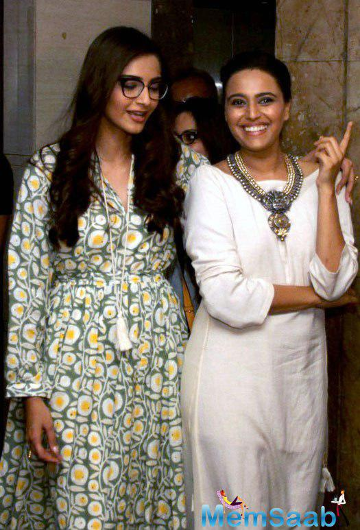 Sonam Kapoor took some time off and came in to support her friend Swara at the screening.